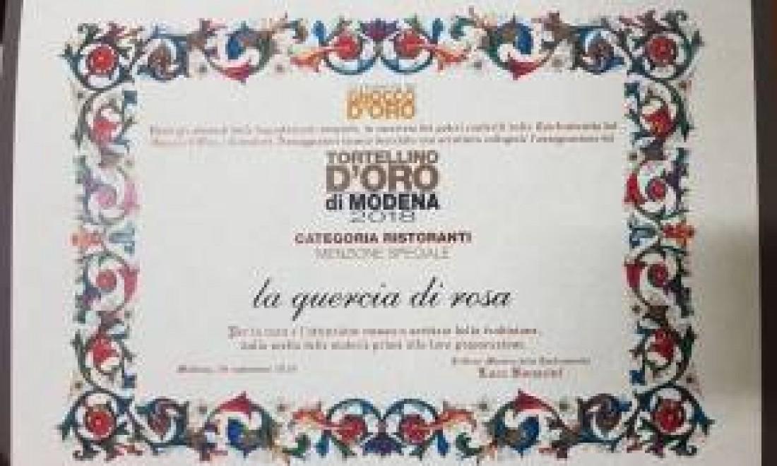 Il ristorante la Quercia di rosa premiato al Concorso del Tortellino d'Oro di Modena 2018